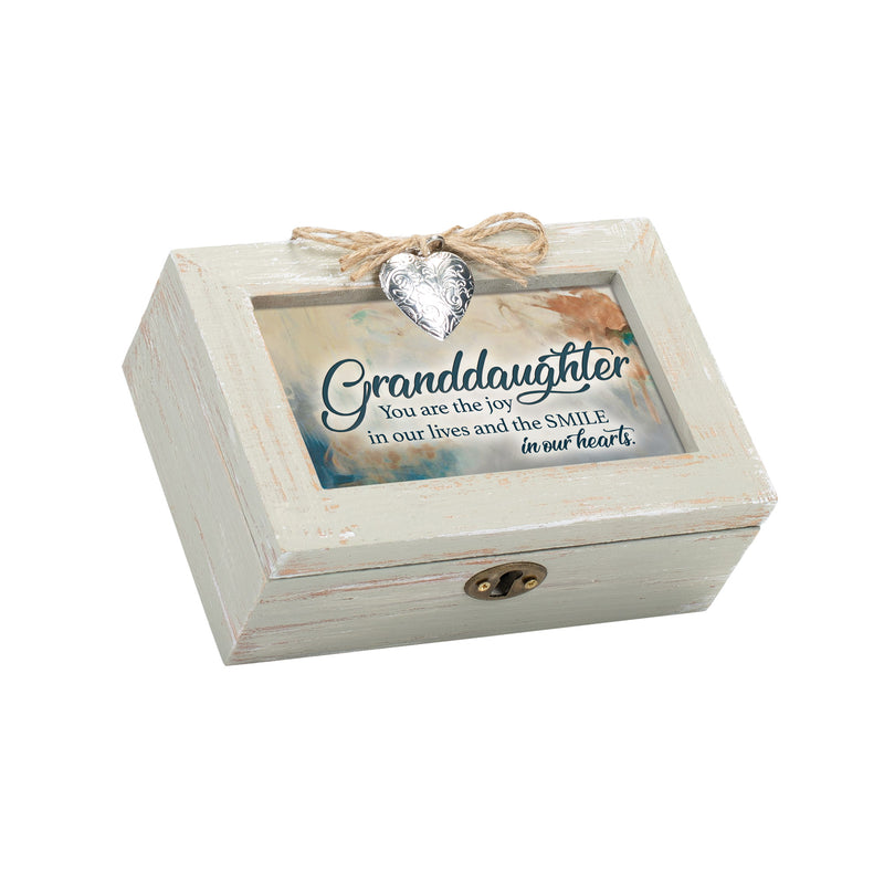 Granddaughter You are the Joy in our Hearts Petite Wood Distressed Locket Music Box Plays Edelweiss
