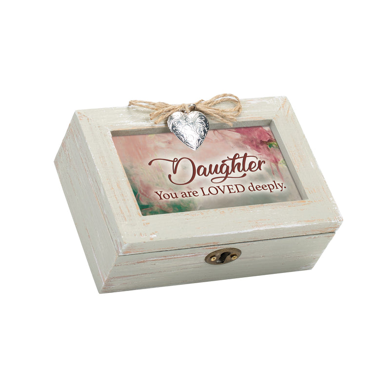 Daughter You Are Loved Deeply Petite Wood Distressed Locket Music Box Plays Wind Beneath My Wings