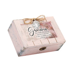 Grandma You Make Everything Special Petite Blush Distressed Locket Music Box Plays Wonderful World