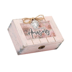 You Are Simply Amazing Petite Blush Distressed Locket Music Box Plays Edelweiss