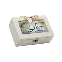 Love Never Fails Inspirational Petite Wood Distressed Locket Music Box Plays How Great Thou Art