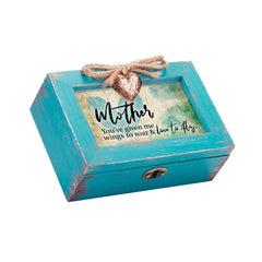 Mother You Make Me Fly Petite Teal Distressed Locket Music Box Plays Wind Beneath My Wings