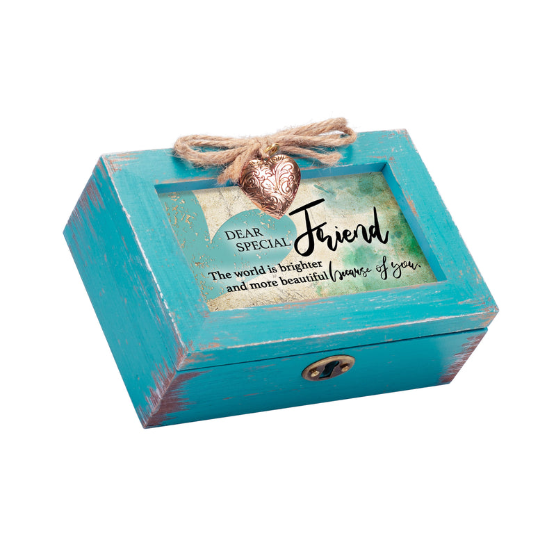 Dear Special Friend Petite Teal Distressed Locket Music Box Plays That's What Friends Are For