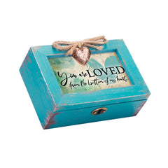 You Are Loved Petite Teal Distressed Locket Music Box Plays You Light Up My Life