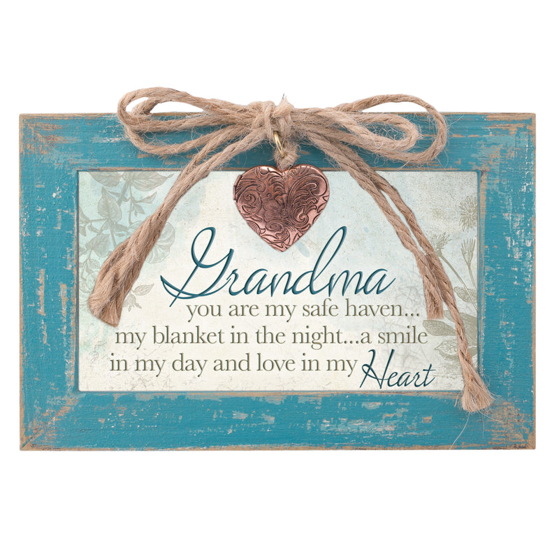 Grandma Safe Haven Blanket Smile Teal Distressed Jewelry Music Box Plays Wind Beneath My Wings