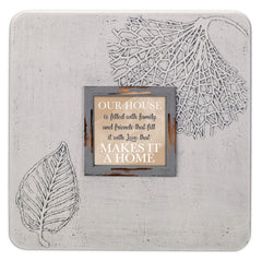 Our House Is Filled With Family 16 x 16 Dandelion Impression Wall Art Sign Plaque, Large