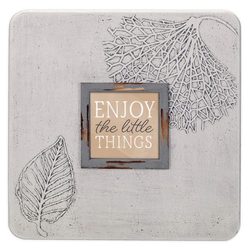 Enjoy The Little Things 16 x 16 Dandelion Impression Wall Art Sign Plaque, Large