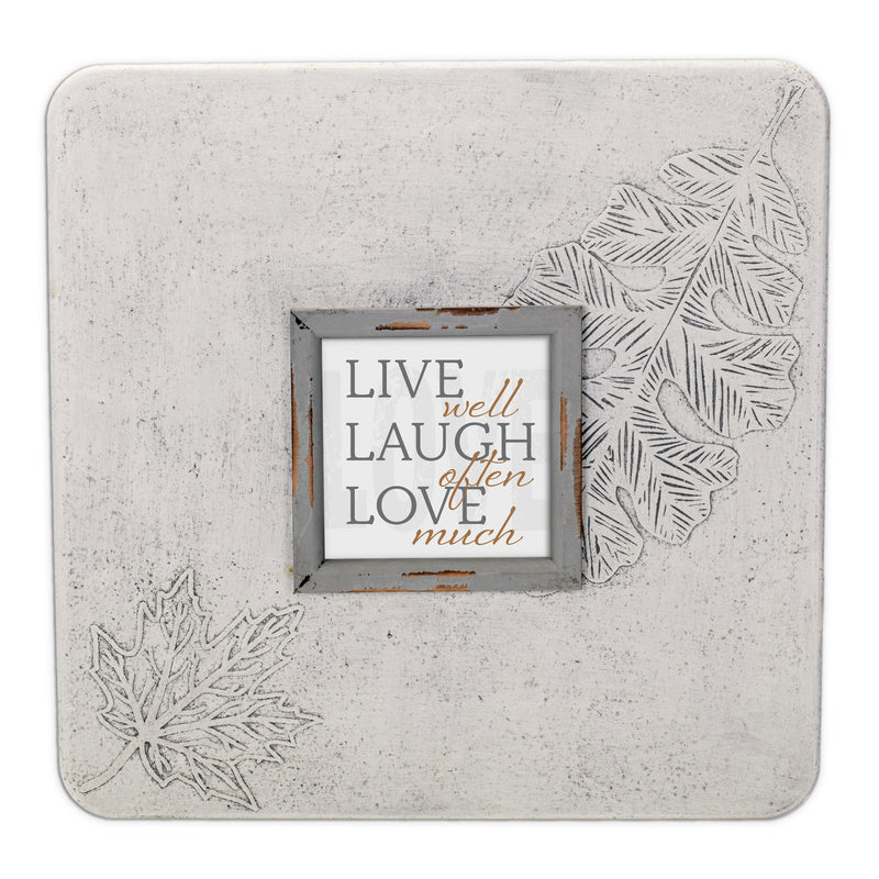 Live Well, Laugh Often, Love More 16 x 16 Leaf Impression Wall Art Sign Plaque, Large