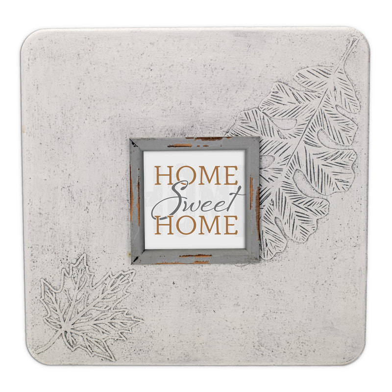 Home Sweet Home 16 x 16 Leaf Impression Wall Art Sign Plaque, Large