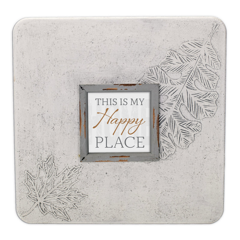 This Is My Happy Place 16 x 16 Leaf Impression Wall Art Sign Plaque, Large