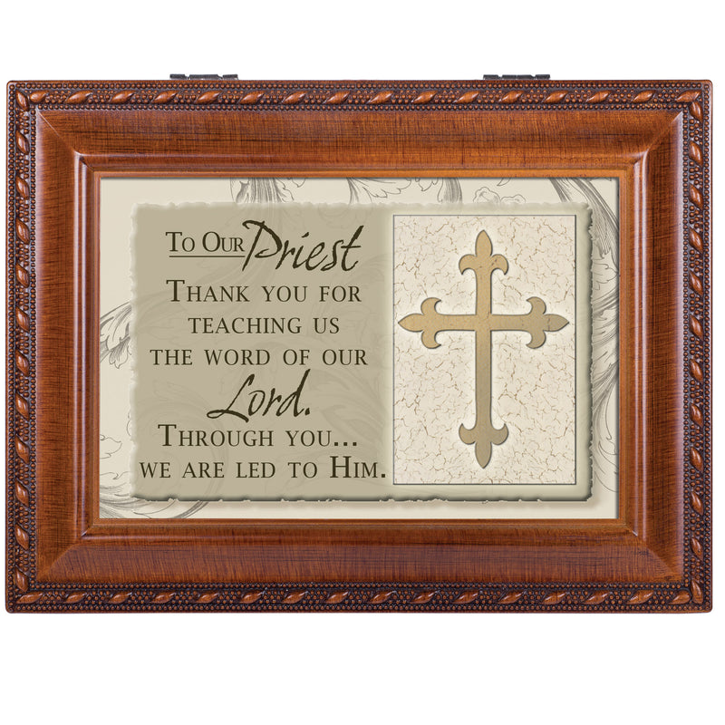 To Our Priest Woodgrain Inspirational Traditional Music Box Plays Ave Maria
