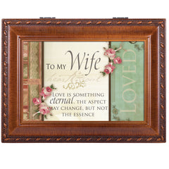 To My Wife Love Eternal Woodgrain Rope Trim Jewelry Music Box Plays Unchained Melody