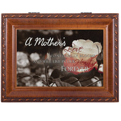 A Mother's Love Bereavement Rich Woodgrain Finish with Rope Trim Jewelry Music Box - Plays Song Amazing Grace