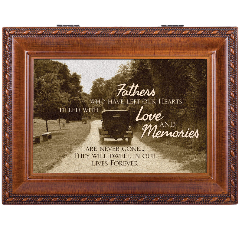 Father Bereavement Rich Woodgrain Finish Jewelry Music Box - Plays Amazing Grace