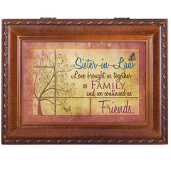 Sister-In-Law Rich Woodgrain Finish with Rope Trim Jewelry Music Box - Plays Song That's What Friends Are For