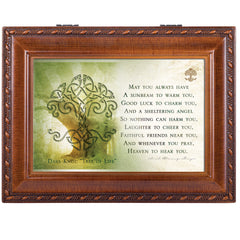 Irish Prayer Always Have Shelter Woodgrain Rope Trim Jewelry Music Box Plays Irish Lullaby