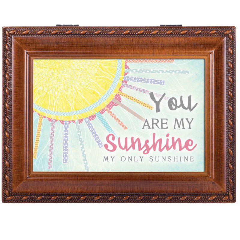 You Are My Only Sunshine Patchwork Woodgrain Keepsake Music Box Plays You are My Sunshine