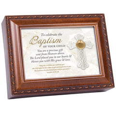 Celebrate Baptism Child Woodgrain Rope Traditional Music Box Plays Friend In Jesus
