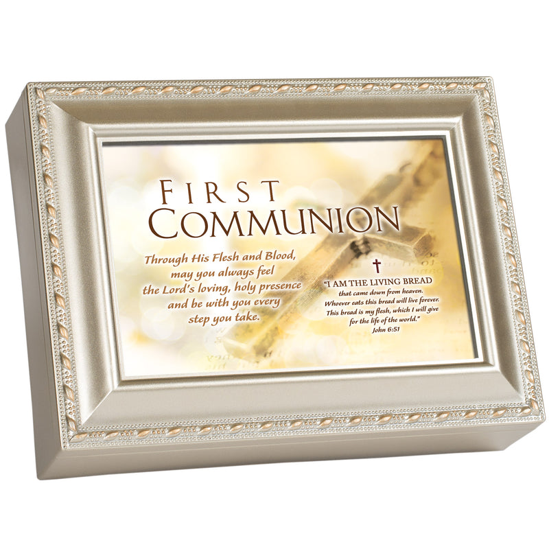 First Communion Living Bread Champagne Silver Traditional Music Box Plays Jesus Loves Me