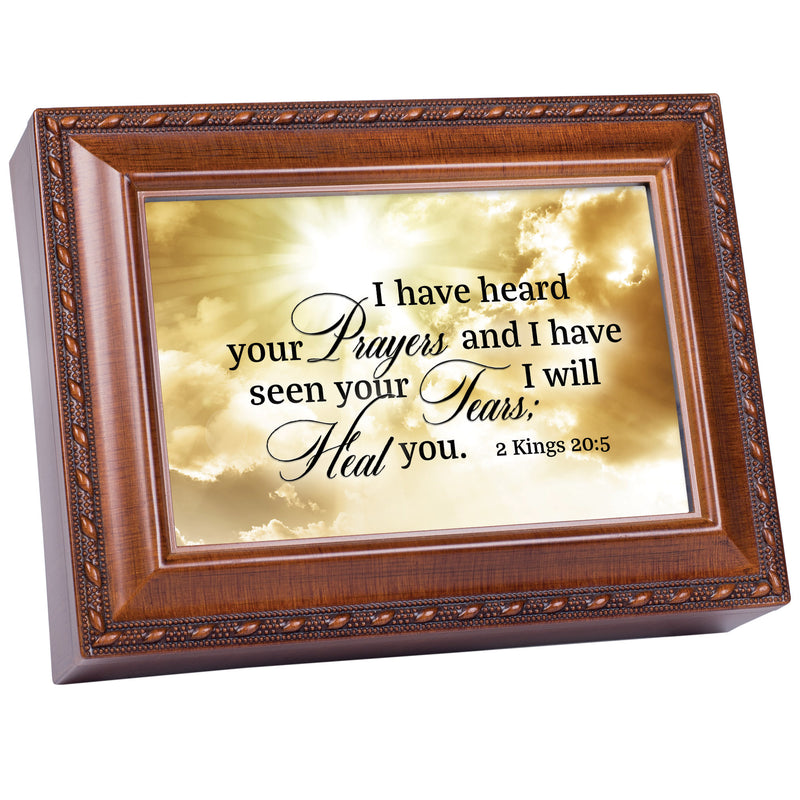 I Have Heard Your Prayers Inspirational Woodgrain Rope Trim Music Box Plays Amazing Grace