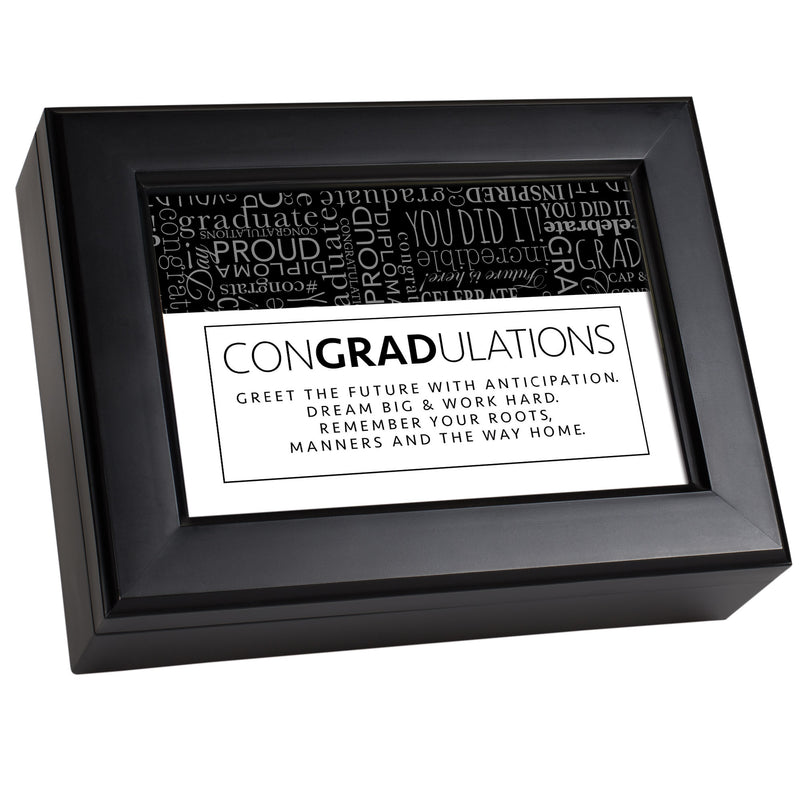 ConGRADulations Matte Black Music Box Plays Pomp & Circumstance