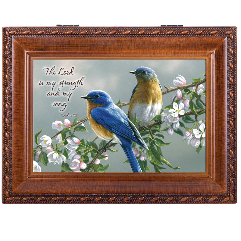 Watchful Birds Woodgrain Inspirational Traditional Music Box Plays Amazing Grace