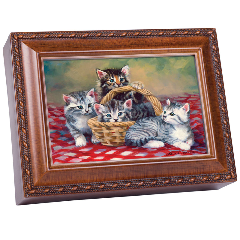 Cats Grey Brown Kittens in Basket Woodgrain Rope Trim Jewelry Music Box Plays You Are My Sunshine