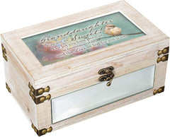 Granddaughter So Sweet Inspirational Distressed Whitewash Metal and Wood Music Box Plays Ave Maria