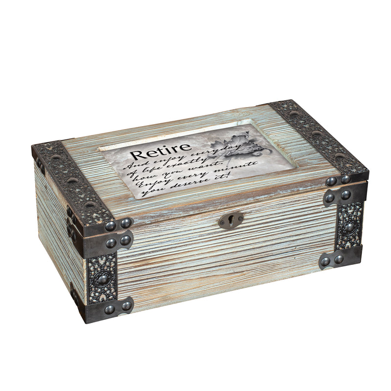 Retire and Enjoy Every Minute Rustic Elegance Dove Grey Music Box Plays Wonderful World