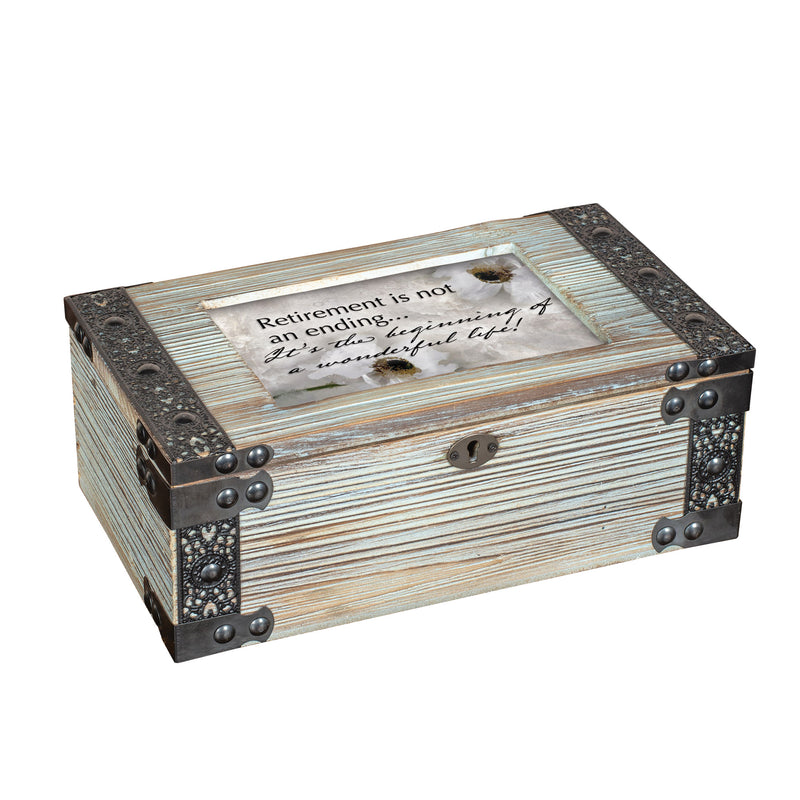 Retirement is the Beginning Rustic Elegance Dove Grey Music Box Plays Wonderful World