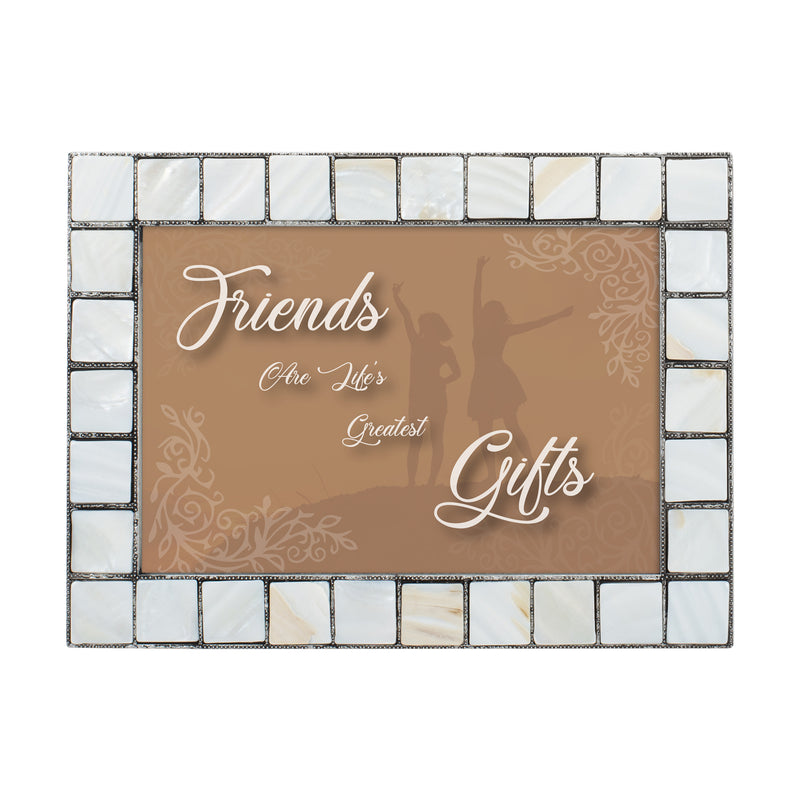 Friends are Life's Gifts Grey Brush Pearlescent 5 x 7 Table Top and Wall Photo Frame
