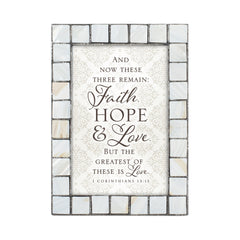 Faith Hope and Love Grey Brush Pearlescent 5 x 7 Table Top and Wall Photo Frame