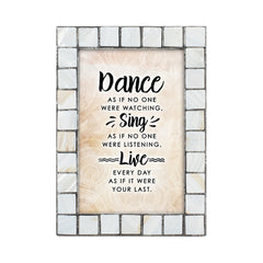 Dance Sing Live Grey Brush Pearlescent 5 x 7 Table Top and Wall Photo Frame