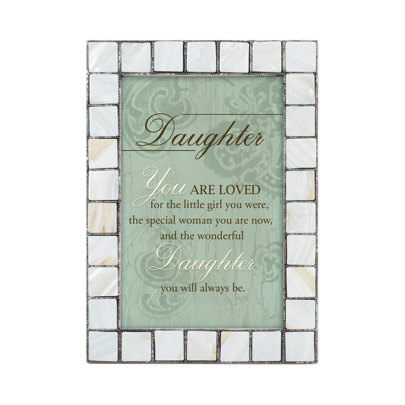 Daughter You are loved Grey Brush Pearlescent 5 x 7 Table Top and Wall Photo Frame
