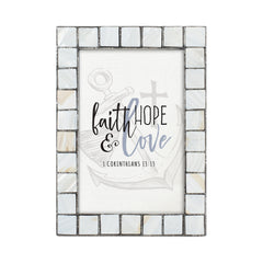 Faith, Hope, Love Grey Brush Pearlescent 5 x 7 Table Top and Wall Photo Frame