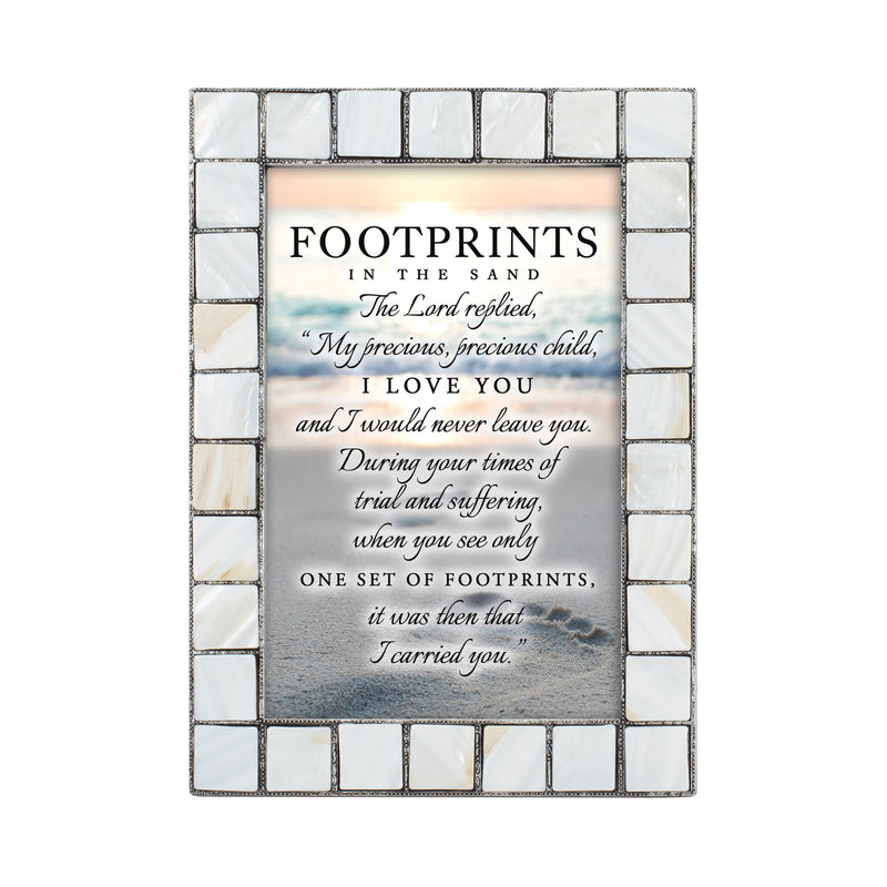 Footprints in the Sand Grey Brush Pearlescent 5 x 7 Table Top and Wall Photo Frame