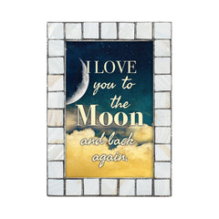 Love You to the Moon Grey Brush Pearlescent 5 x 7 Table Top and Wall Photo Frame