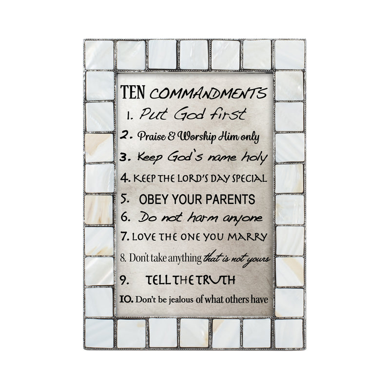 Ten Commandments Grey Brush Pearlescent 5 x 7 Table Top and Wall Photo Frame