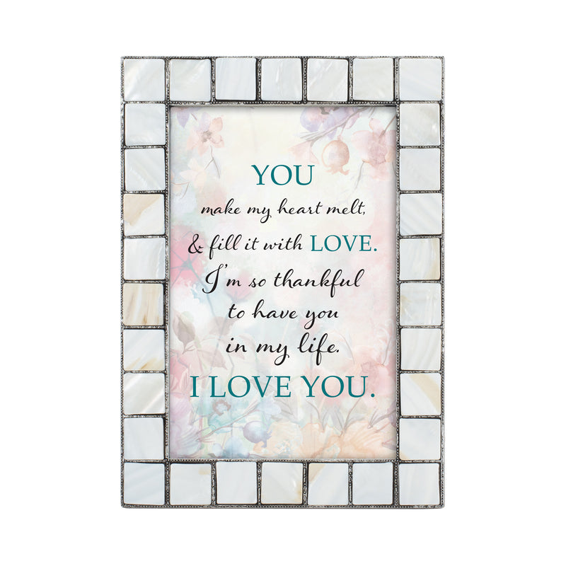 You Make My Heart Melt Grey Brush Pearlescent 5 x 7 Table Top and Wall Photo Frame