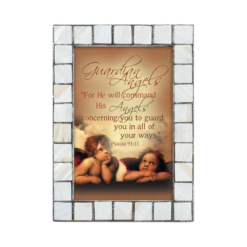 Guardian Angels Grey Brush Pearlescent 5 x 7 Table Top and Wall Photo Frame