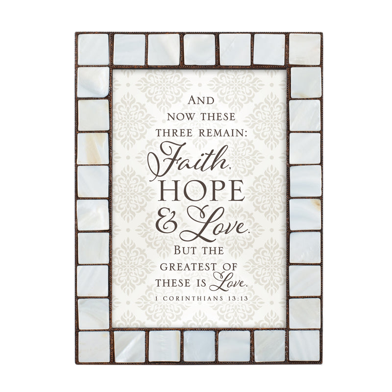 Faith Hope and Love Amber Pearlescent 5 x 7 Table Top and Wall Photo Frame