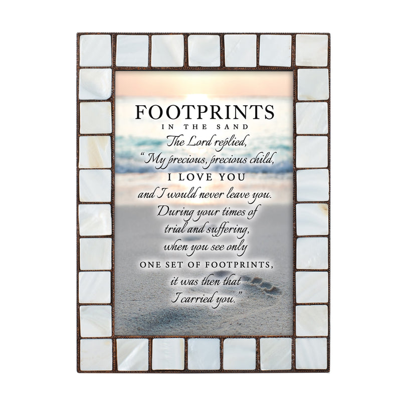 Footprints in the Sand Amber Pearlescent 5 x 7 Table Top and Wall Photo Frame