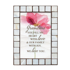 Grandma You Fill My Heart Amber Pearlescent 5 x 7 Table Top and Wall Photo Frame