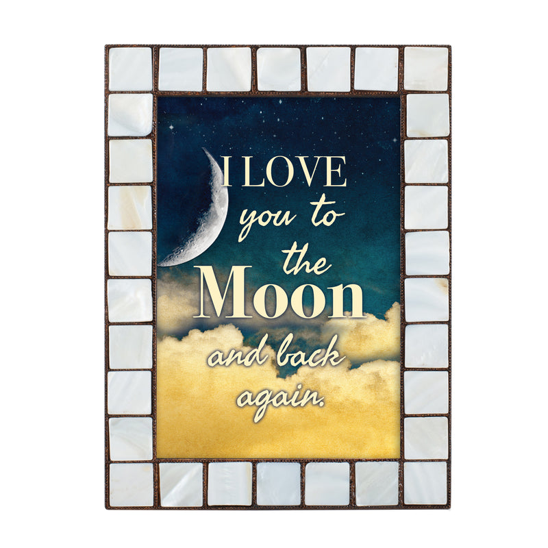 Love You to the Moon Amber Pearlescent 5 x 7 Table Top and Wall Photo Frame