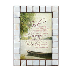 Serenity Prayer Amber Pearlescent 5 x 7 Table Top and Wall Photo Frame