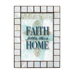 Faith Fills This Home Mother of Pearl Amber 5 x 7 Table Top and Wall Photo Frame