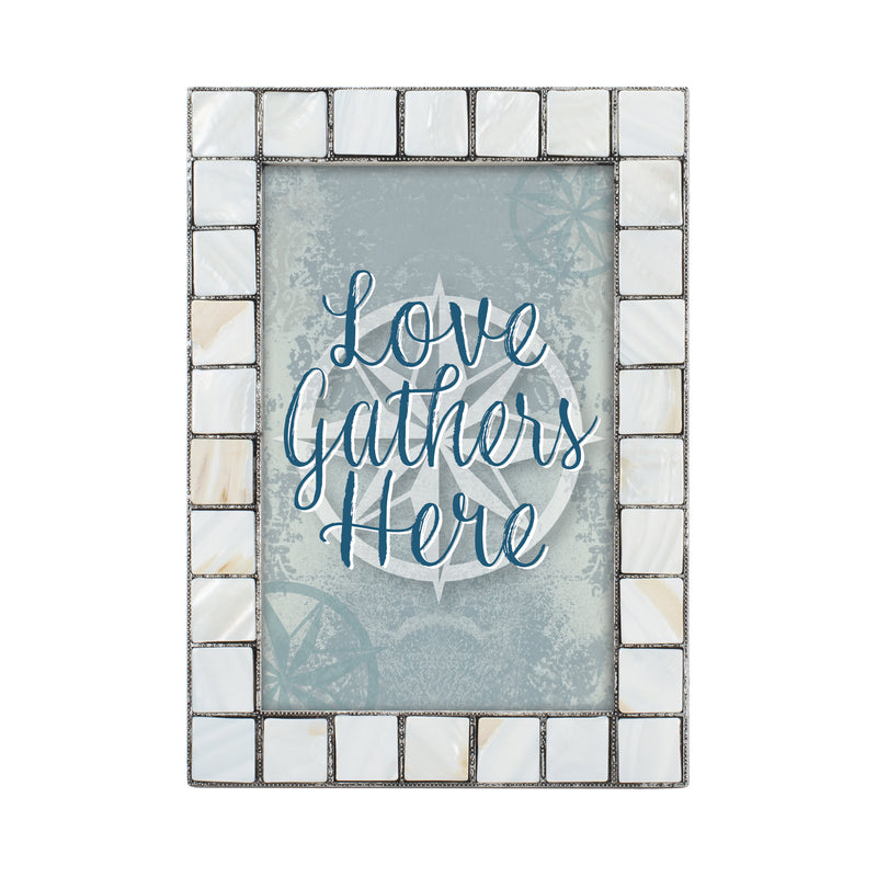 Love Gathers Here Mother of Pearl Grey Brush 5 x 7 Table Top and Wall Photo Frame