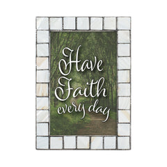 Have Faith Every Day Mother of Pearl Grey Brush 5 x 7 Table Top and Wall Photo Frame
