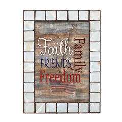 Family Faith Freedom Friends Mother of Pearl Amber 5 x 7 Table Top and Wall Photo Frame