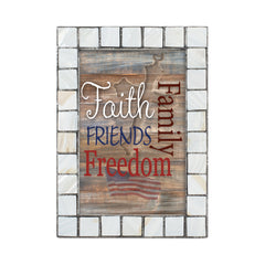 Family Faith Freedom Friends Mother of Pearl Grey Brush 5 x 7 Table Top and Wall Photo Frame